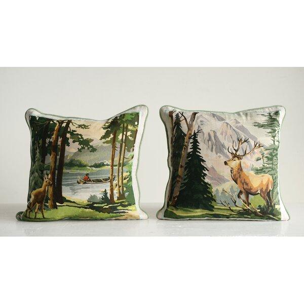 Weissman 2 Piece Deer and Landscape Cotton Throw Pillow Set by Millwood Pines