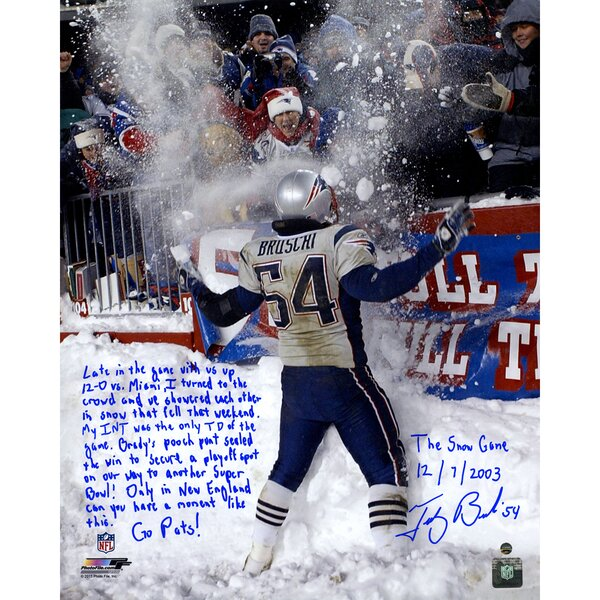 Tedy Bruschi Signed Snow Game and Super Bowl Photographic Print by Steiner Sports