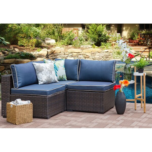 Holliston 3 Piece Rattan Sectional Seating Group with Cushions by Zipcode Design