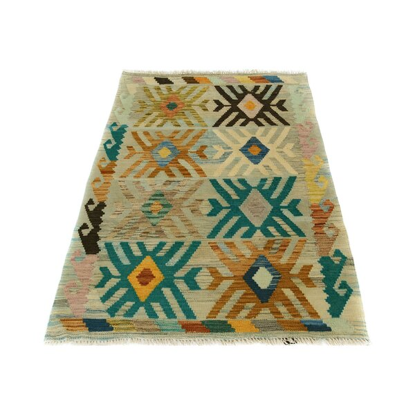 One-of-a-Kind Aalborg Kilim Hand-Woven Gray/Teal Area Rug by Isabelline