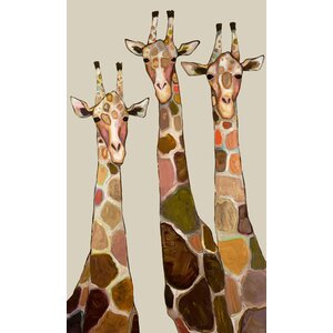 'Three Giraffes on Cream' by Eli Halpin Painting Print on Canvas by GreenBox Art