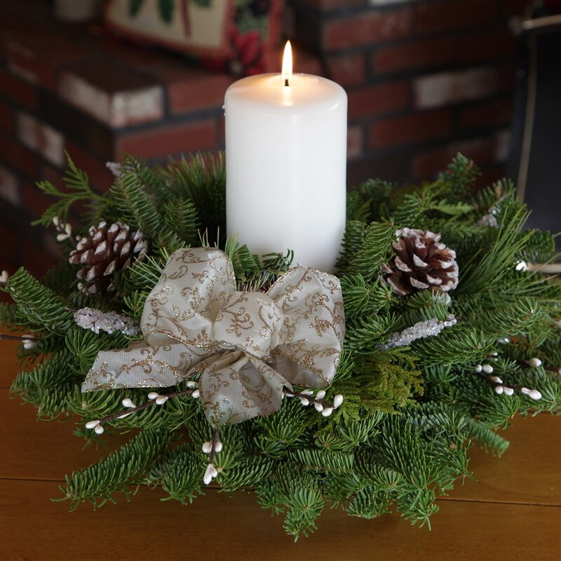 Small Round Winter Elegance Pillar Candle Centerpiece Made of Maine balsam, native pine and cedar