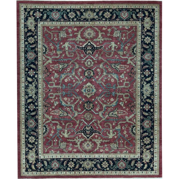 Sultanabad Oriental Hand-Knotted Wool Red/Navy Area Rug
