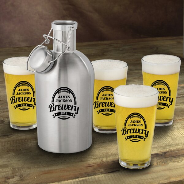 Brewery Personalized 5 Piece Beverage Serving Set by JDS Personalized Gifts