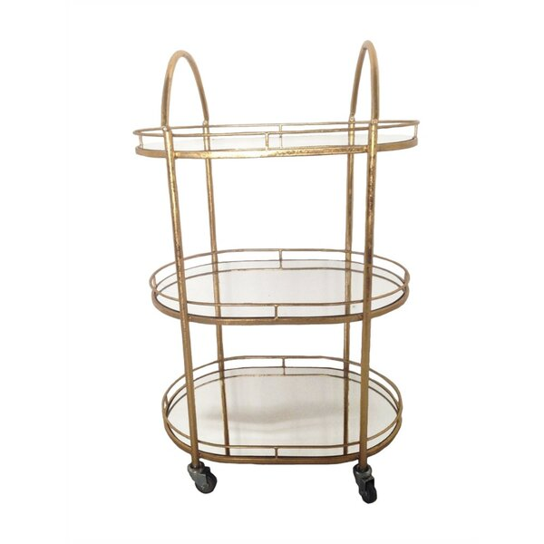 Losey Graceful Metal Bar Cart by Rosdorf Park