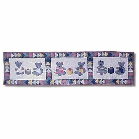 Blue Teddy Bear Table Runner by Patch Magic