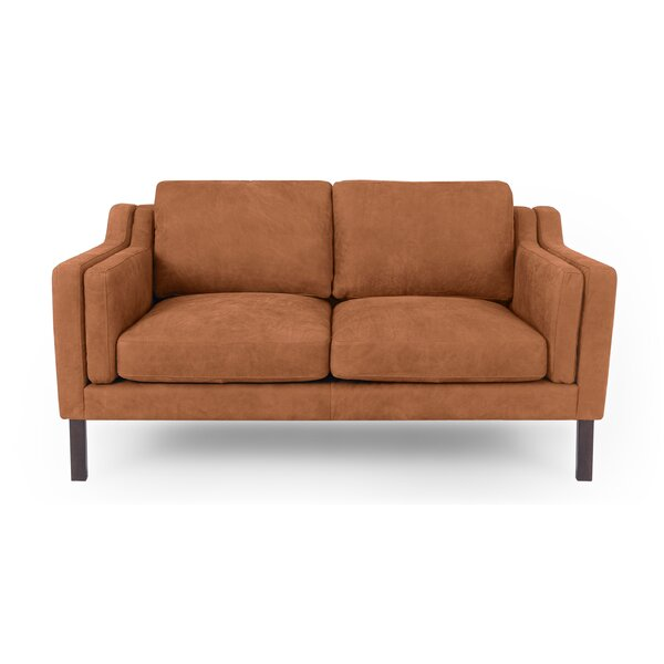 Premium Sell Rolando Mid-Century Leather Loveseat by Corrigan Studio by Corrigan Studio