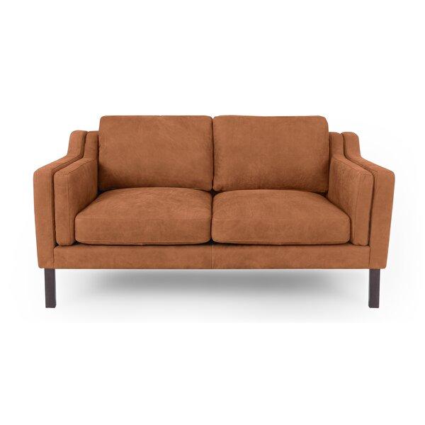 Online Shopping Cheap Rolando Mid-Century Leather Loveseat by Corrigan Studio by Corrigan Studio