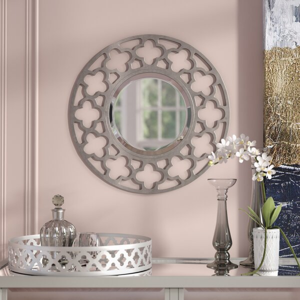 Angora Round Nickel Wall Mirror by Rosdorf Park