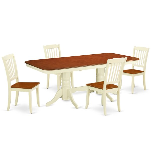 Laflamme 5 Piece Extendable Solid Wood Dining Set by August Grove