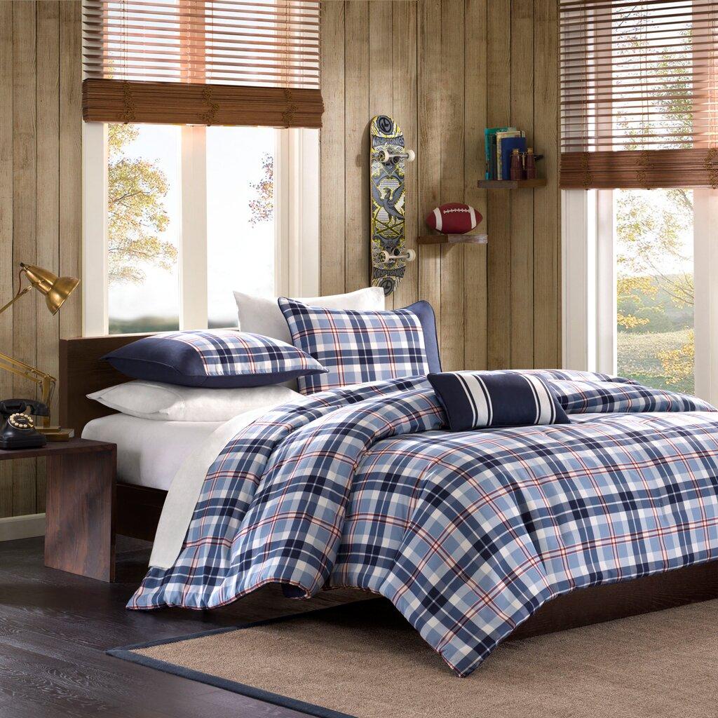Red and brown plaid bedding - Elliot Plaid Comforter Set