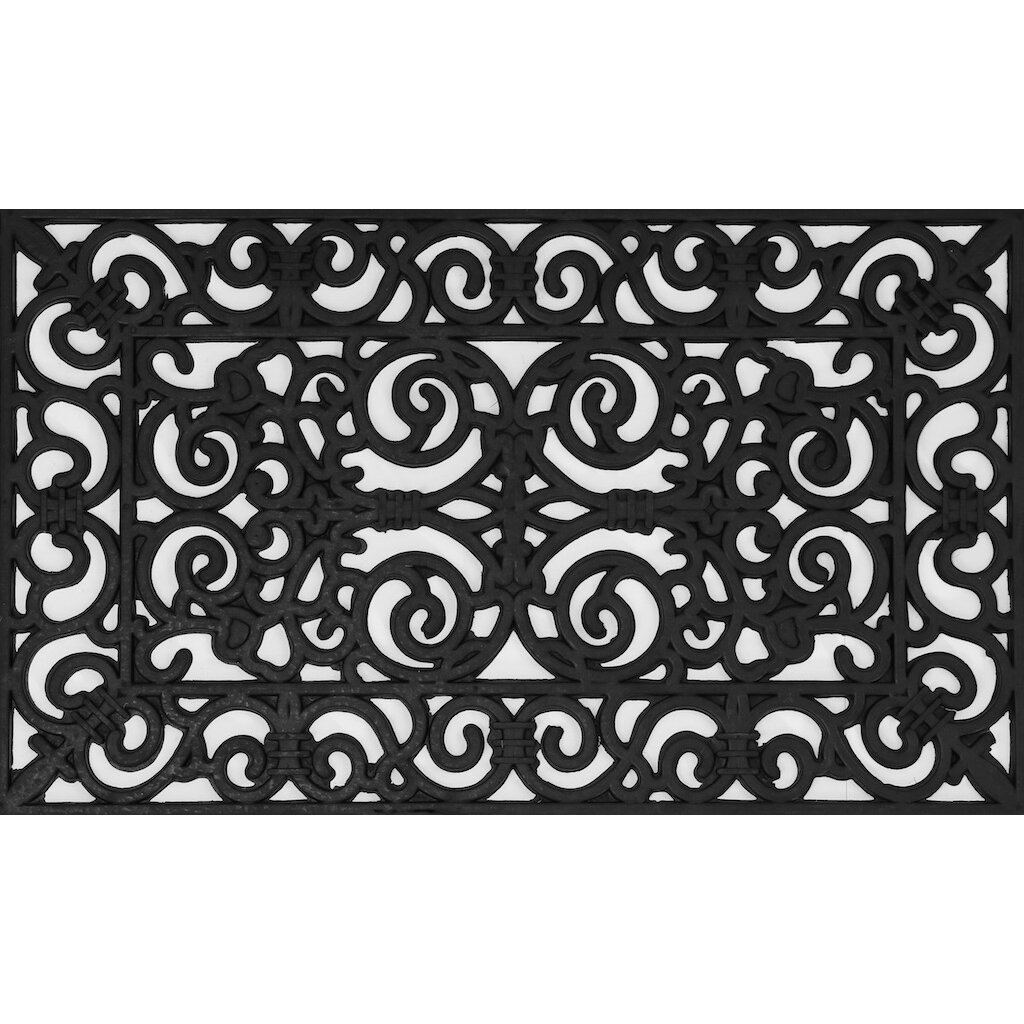 Envelor home fleur de lis wrought iron rubber pins doormat reviews wayfair - Fleur de lis doormat ...