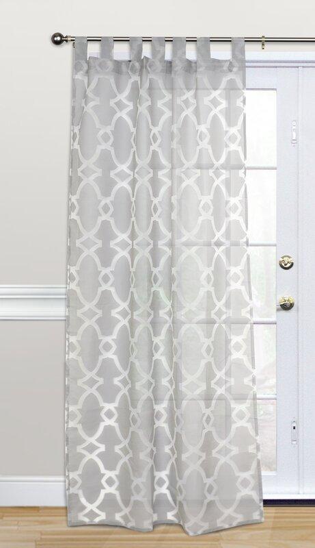 Kosas Home Dara Geometric Sheer Tab Top Single Curtain Panel Reviews Wayfair