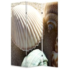72 x 48 Sea Shell 3 Panel Room Divider by Screen Gems