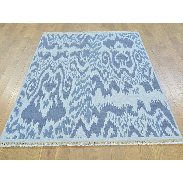 One-of-a-Kind Blatt Soumak With Ikat Design Handwoven Gray Wool Area Rug by Isabelline