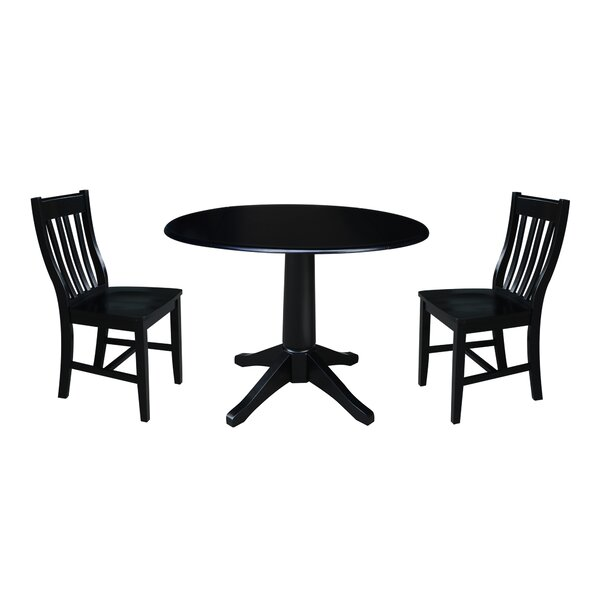 Angelia 3 Piece Drop Leaf Solid Wood Dining Set by Canora Grey