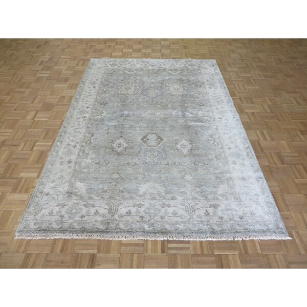 One-of-a-Kind Josephson Oushak Hand-Knotted Soft Green Area Rug by Canora Grey
