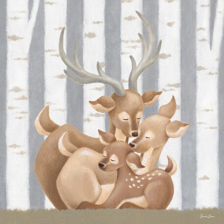 Forest Families Deer Canvas Art by Oopsy Daisy