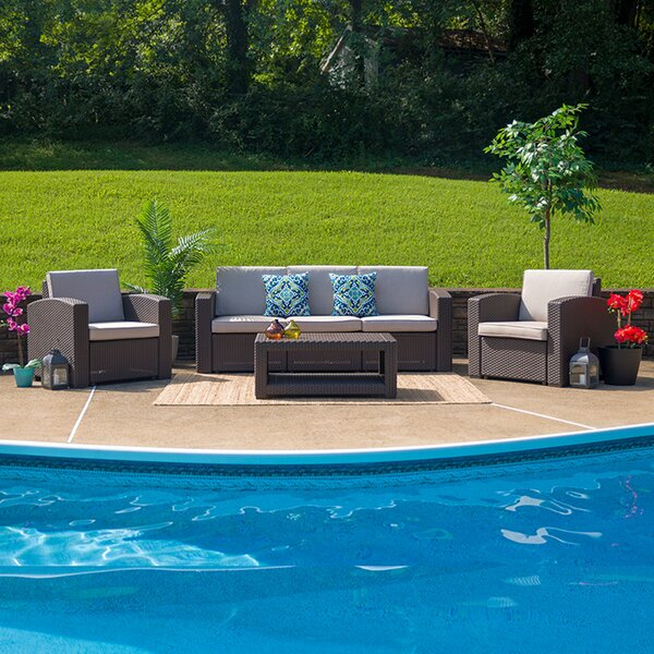 Thresher 4 Piece Rattan Sofa Seating Group with Cushion by Latitude Run