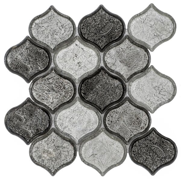 Peach 9.76 x 10.12 Glass Mosaic Tile in Grayscale by Byzantin Mosaic