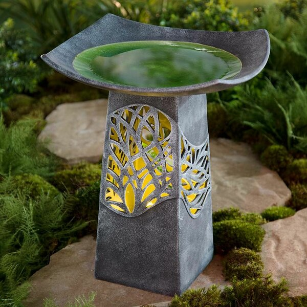 Hand Glazed Bowl Lighted Birdbath by Wind & Weather