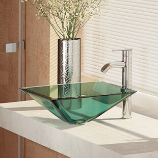 Price Check Glass Square Vessel Bathroom Sink with Faucet ByRené By Elkay