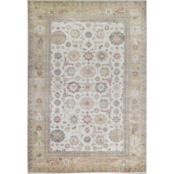 One-of-a-Kind Hand-Knotted Ivory 12'2 x 17'9 Wool Area Rug