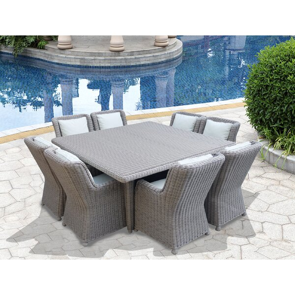 Brokaw 9 Piece Dining Set with Cushions by Highland Dunes
