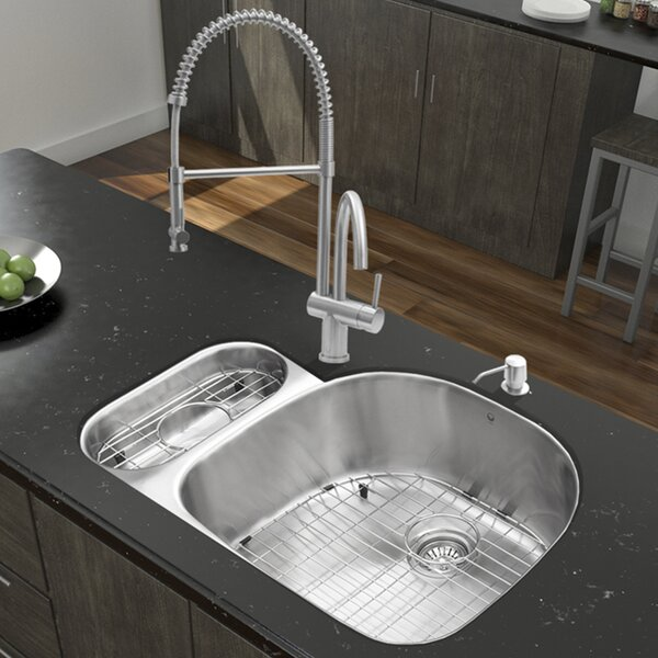 32 L x 21 W Double Basin Undermount Kitchen Sink with Faucet, Grid, Strainer and Soap Dispenser by VIGO