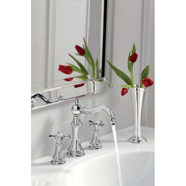 Weymouth Widespread High Arc Bathroom Faucet with Optional Pop-Up Drain by Moen