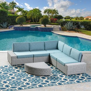 Kerr 5 Piece Rattan Sectional Set with Cushions By Orren Ellis