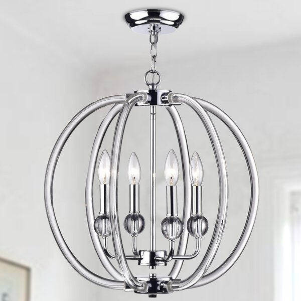 Cardenas 4 - Light Candle Style Globe Chandelier with Crystal Accents by Rosdorf Park Rosdorf Park