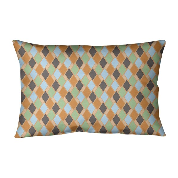 Leffel Retro Diamonds Geometric Lumbar Pillow