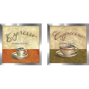 'Cappuccino' 2 Piece Framed Vintage Advertisement Set Under Glass by Fleur De Lis Living