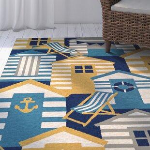 Seaside Beach Hut Blue Brown Indoor Outdoor Area Rug