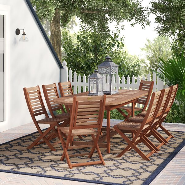 Eades 9 Piece Dining Set by Beachcrest Home