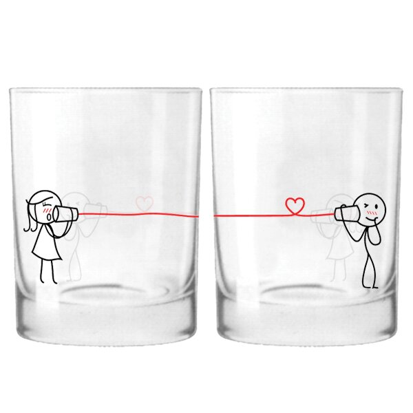 Say I Love You Too Couple 12 oz. Drinking Glass (Set of 2) by BoldLoft
