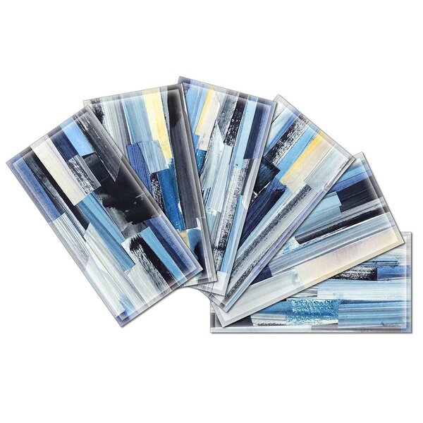 Crystal 3 x 6 Beveled Glass Subway Tile in Gray/Blue by Upscale Designs by EMA