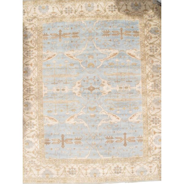 Oushak Original Turkish Design Hand-Knotted Wool Light Blue/Ivory Area Rug by Pasargad NY