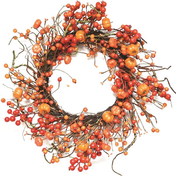 Autumn Harvest 20 Artificial Fall Berry and Mini Pumpkin Wreath by Northlight Seasonal