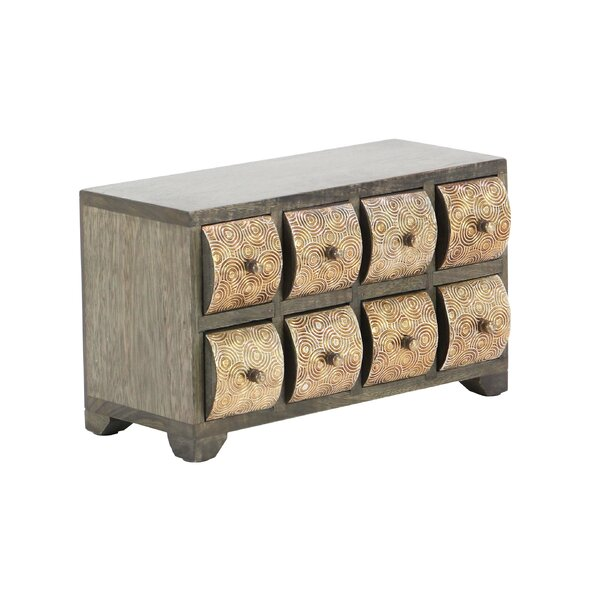 Cincinnatus Rustic Curved Square Paneled 8-Drawer Horizontal Free Standing Jewelry Armoire by Bloomsbury Market