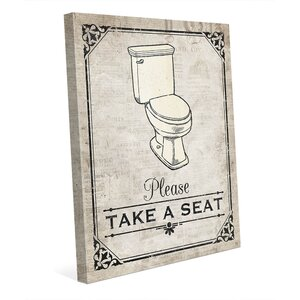 'Take a Seat Tan' Graphic Art on Wrapped Canvas by Click Wall Art
