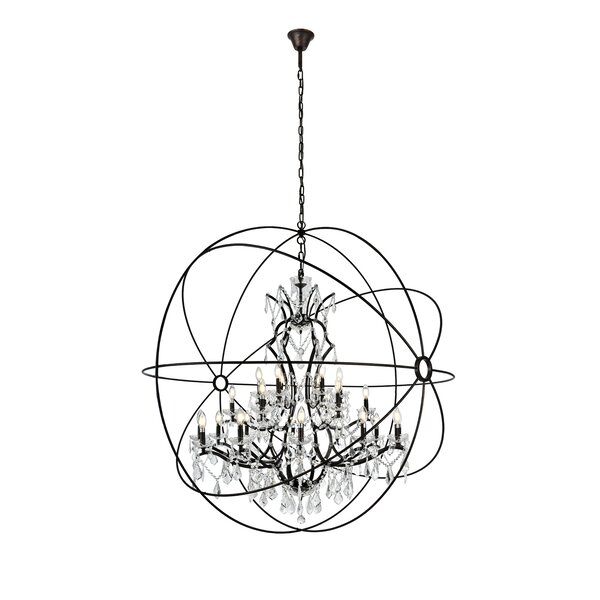 Svante 25 - Light Unique / Statement Globe Chandelier With Crystal Accents By Willa Arlo Interiors