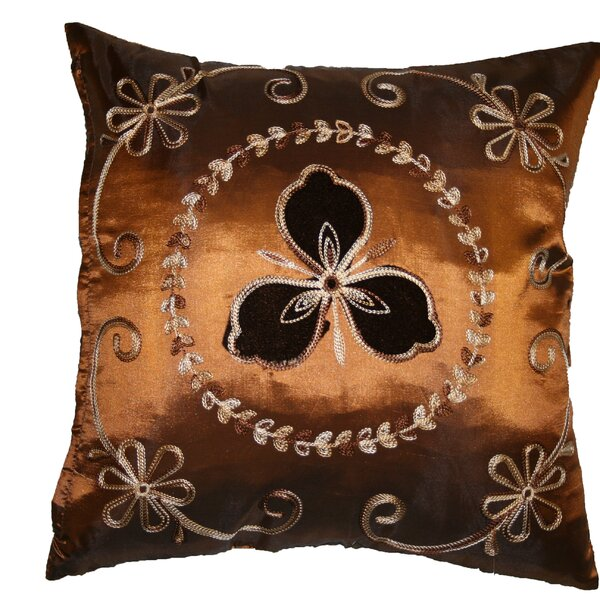 Silky Ornate Embroidered Velvet Floral Design Decorative Cushion Cover by Violet Linen