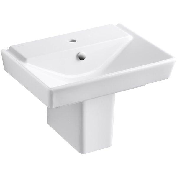 Reve Ceramic 24 Semi Pedestal Bathroom Sink with Overflow by Kohler