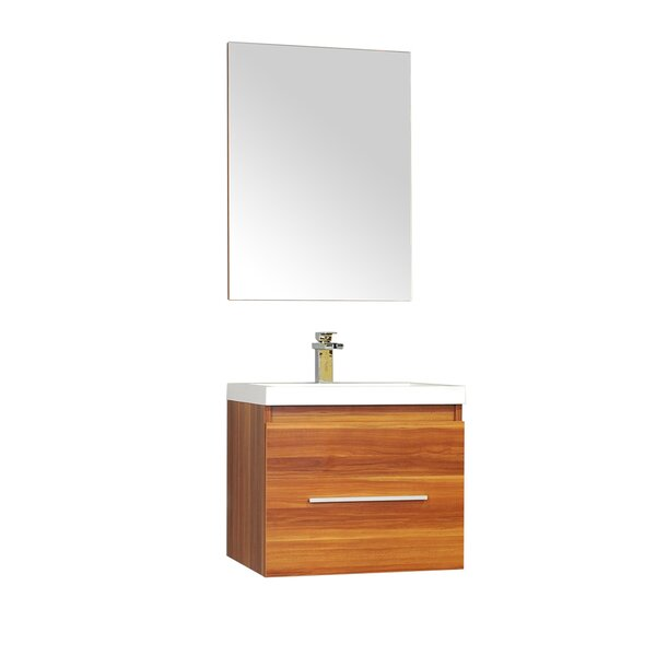 Waldwick 24 Single Wall Mount Modern Bathroom Vanity Set with Mirror by Wade Logan