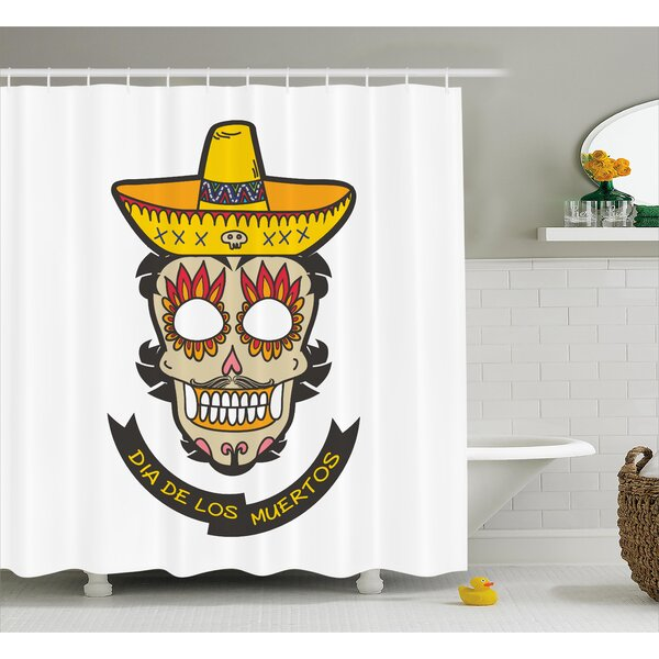 Zaya Day of The Dead Colorful Skull With Sombrero and Moustache and Fire Eyes Shower Curtain by Ebern Designs