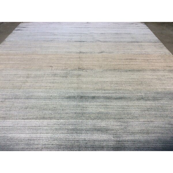 One-of-a-Kind Zen Hand-Knotted Gray 9' x 12' Area Rug