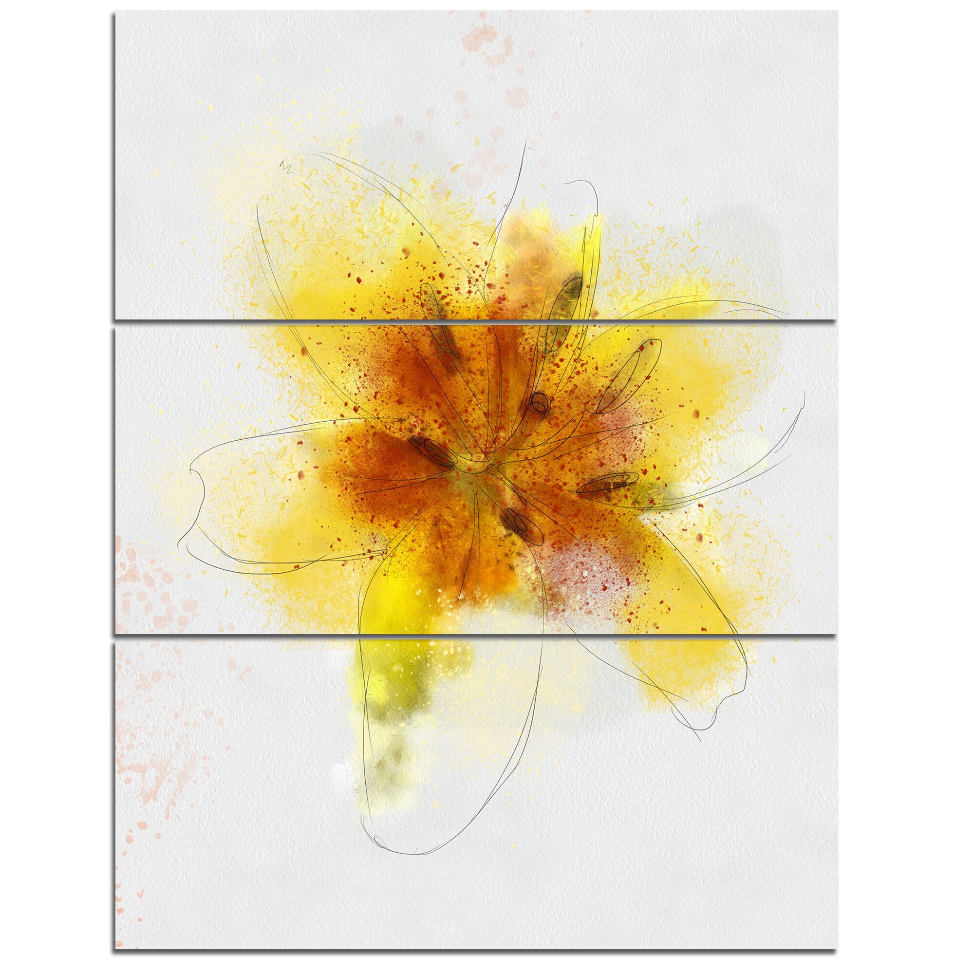 DesignArt \'Yellow Flower Sketch on White\' 3 Piece Wall Art on ...