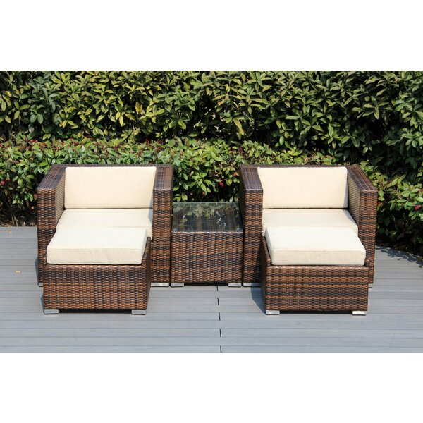 Baril 5 Piece Rattan Seating Group with Cushions by Wade Logan